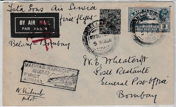 BELLARY BOMBAY N VINTCENT SIGNED TATA FLIGHT COVER 1932 JRD TATA FLOWN INDIAN AIRMAILS RARE UNIQUE AIR INDIA FIRST FLIGHT COVER FFC