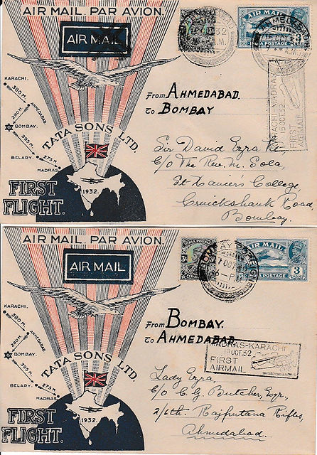 AHEMDABAD BOMBAY AHEMDABAD SIGNED TATA FLIGHT COVER 1932 JRD TATA FLOWN INDIAN AIRMAILS RARE UNIQUE AIR INDIA FIRST FLIGHT COVER FFC