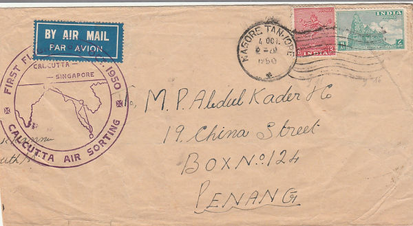 1950 BHARAT AIRWAYS CALCUTTA SINGAPORE F
