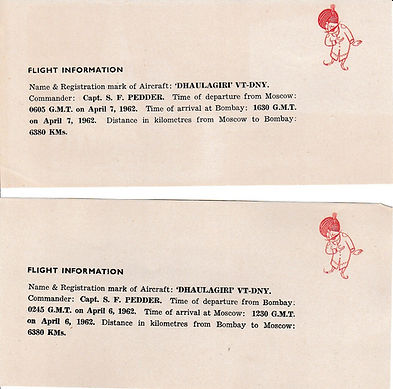 AIR INDIA_ 1962 BOMBAY MOSCOW BOMBAY FFC SIGNED