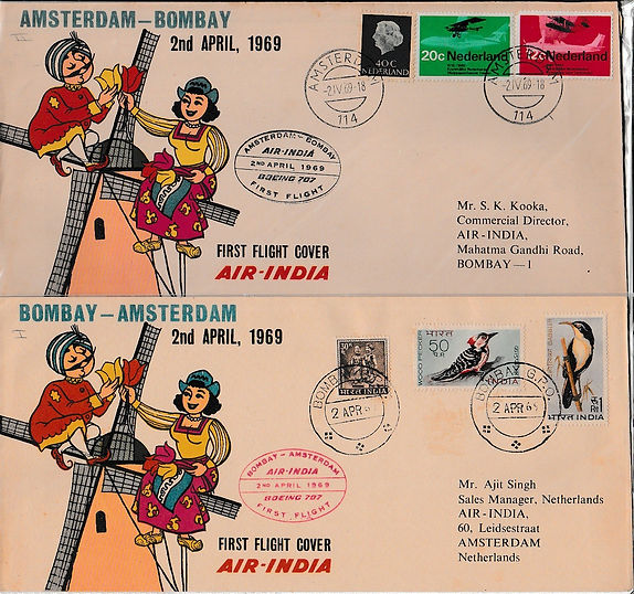 AIR INDIA 1969 BOMBAY AMSTERDAM BOMBAY  2ND APRIL FFC