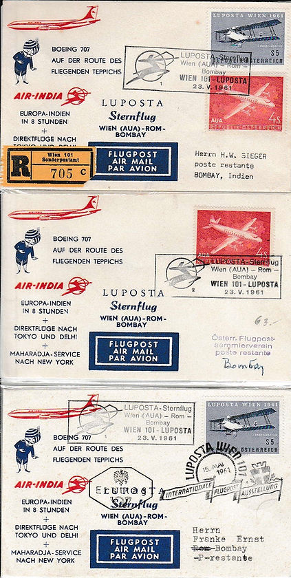 AIR INDIA_23 MAY 1961 WIEN ROME BOMBAY FFC.j