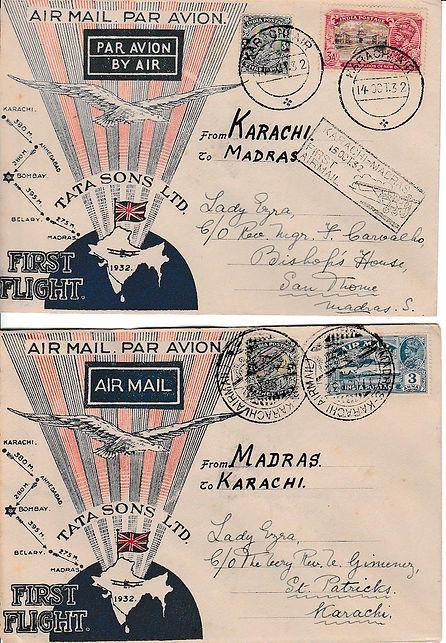KARACHI MADRAS KARACHI LADY EZRA SIGNED TATA FLIGHT COVER 1932 JRD TATA FLOWN INDIAN AIRMAILS RARE UNIQUE AIR INDIA FIRST FLIGHT COVER FFC