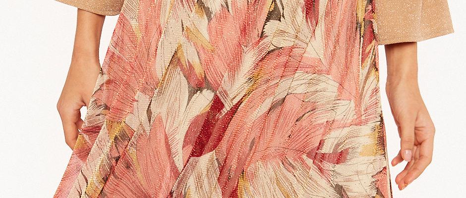 Falda coral midi hojas