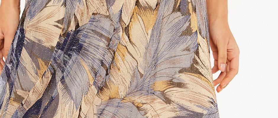 Falda azul midi hojas. ¡Sólo queda una!