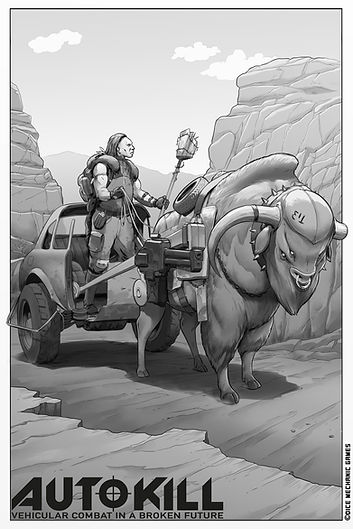 Black and white illustration of a mutant cow pulling a chariot made from half a car