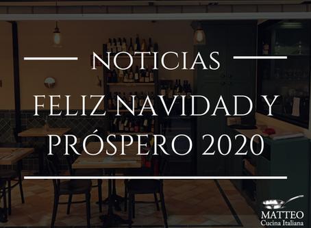 Desde Matteo Cucina Italiana os deseamos una Feliz Navidad y un Próspero 2020, ¡felices fiestas!