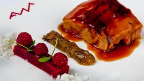 Cabrito con Tatín de berenjena y ensalada de frambuesa, una receta de Zuriñe García del Restaurante