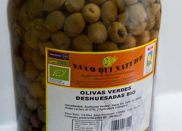 "Olivas Verdes Deshuesadas Bio Galón 5 Kg ""Ecco Qui Nature"""