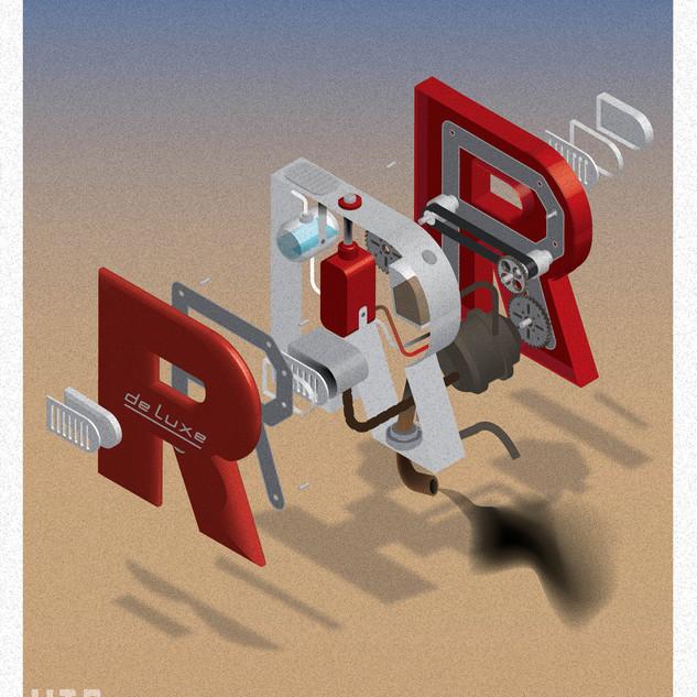 Illustratie typografie R
