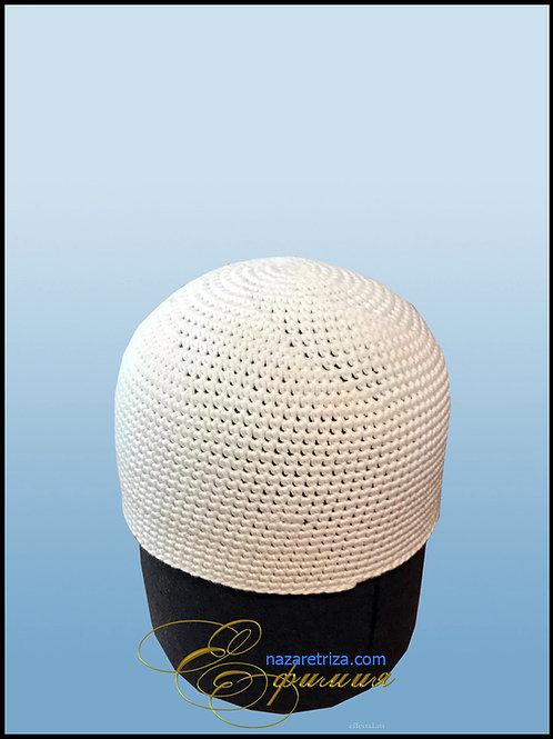 Вязаная монашеская шапка белая