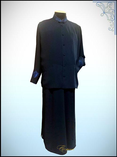 Комплект. Подрясник Греческий покрой с жилеткой. Материал костюмный Креп синий.