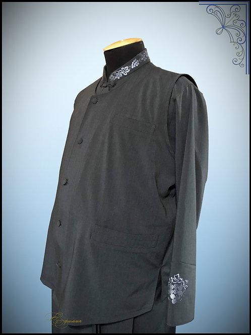 Комплект. Подрясник Греческий покрой с жилеткой. Материал костюмный серый..