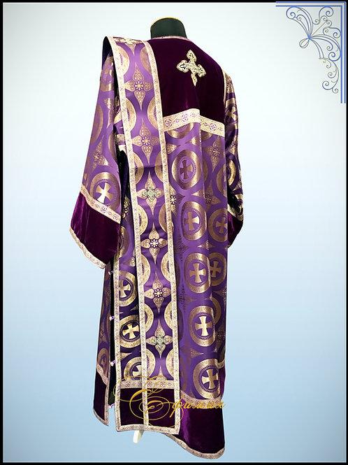 Стихарь дияконский фиолетовый, комбинированный.