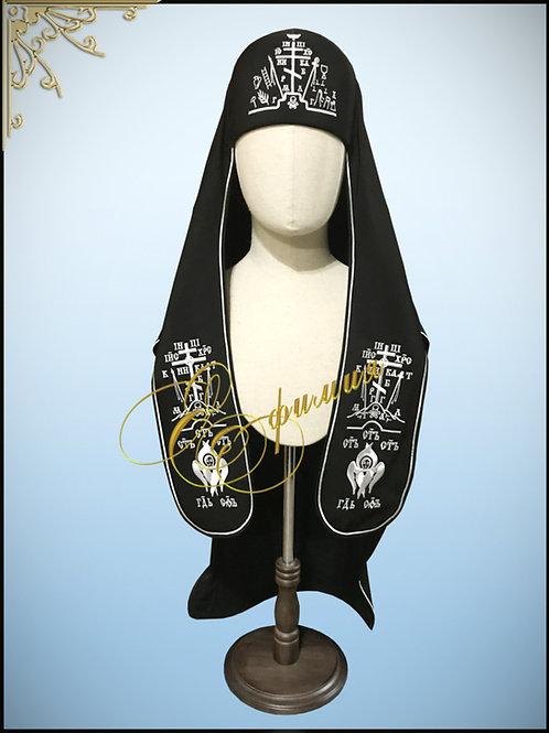 Куколь схимнический древнерусский с белой вышивкой.