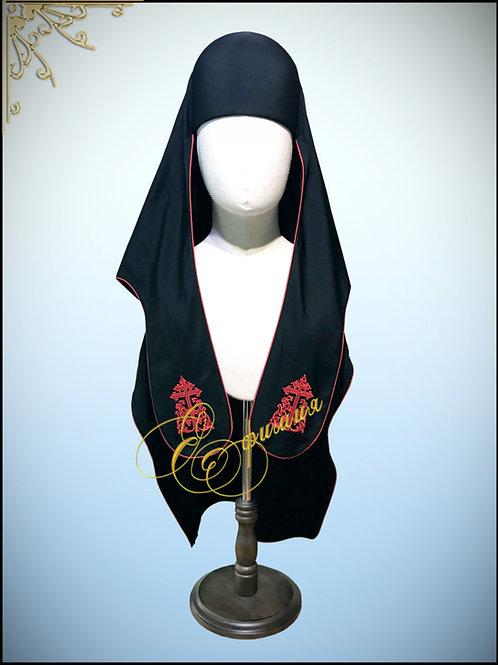 Куколь древнерусский с красным кантом и вышивкой