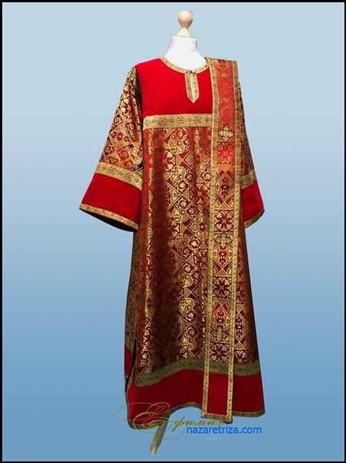 Стихарь диаконский красный, комбинированный на подкладке.