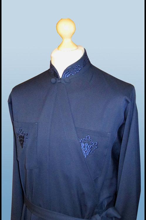 Подрясник Греческий покрой с вышивкой. Материал костюмный синий.