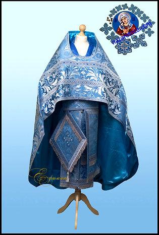 Иерейское Облачение голубое с серебром. Богородичное