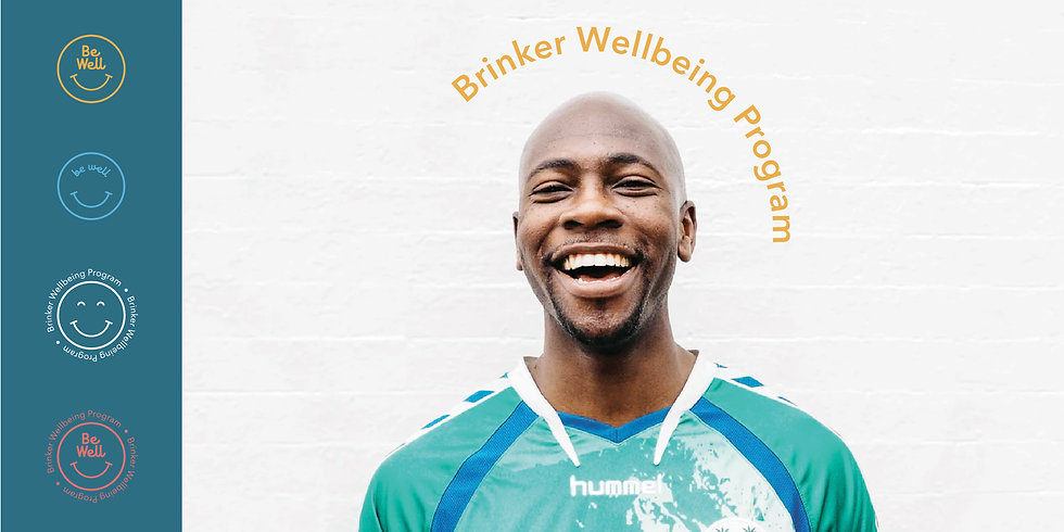 Smiling man with Be Well wellness branding subgraphics