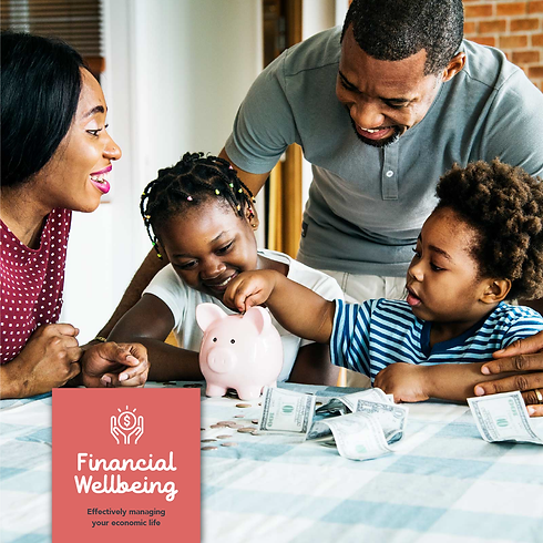 Financial Wellbeing icon with family saving money