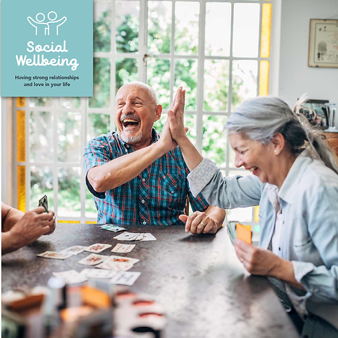 Social Wellbeing icon with friends playing cards