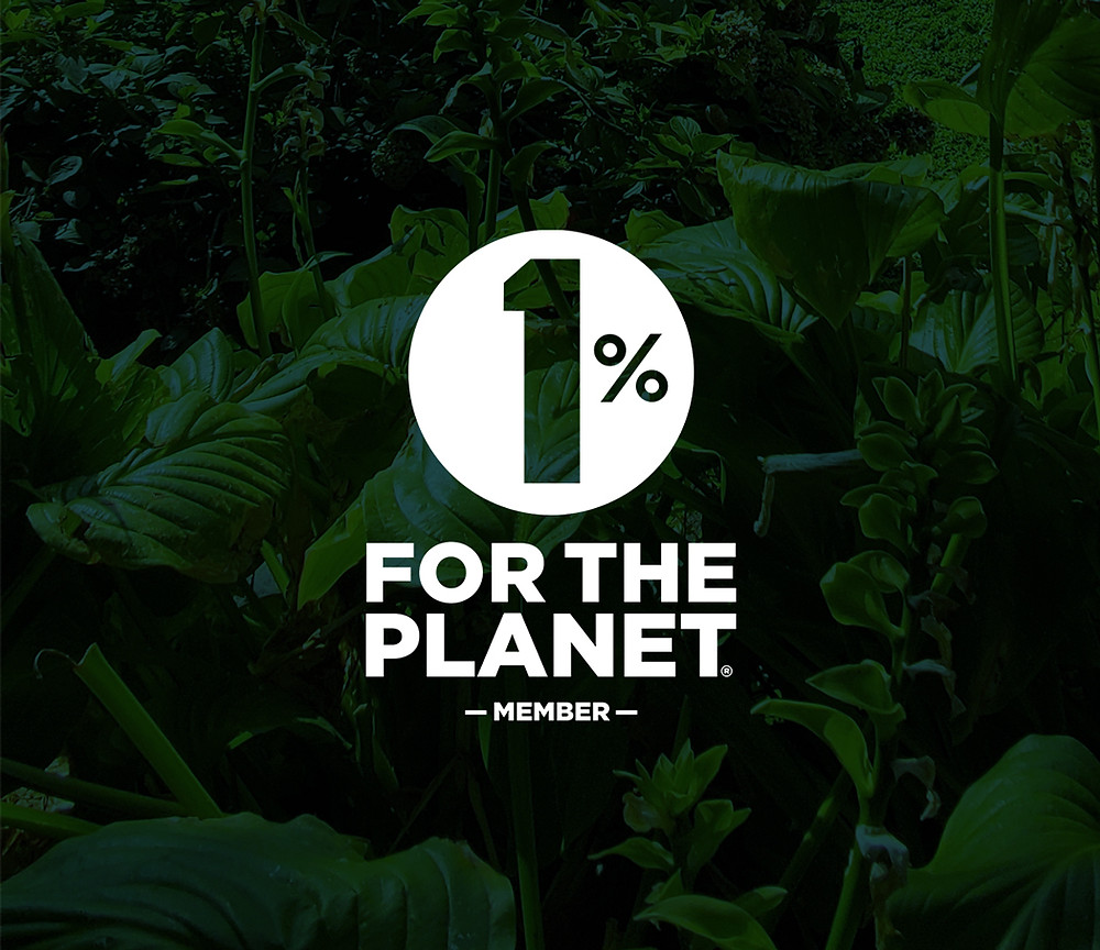 1% for the Planet Member Logo on tropical background