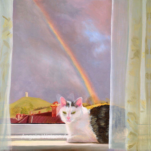 Peaches in the Sky with Rainbow
