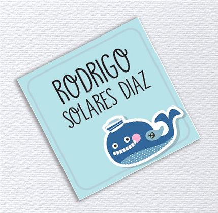Etiquetas 5x5cms > Happy Whale