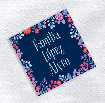 Etiquetas 5x5cms > Flores Azul