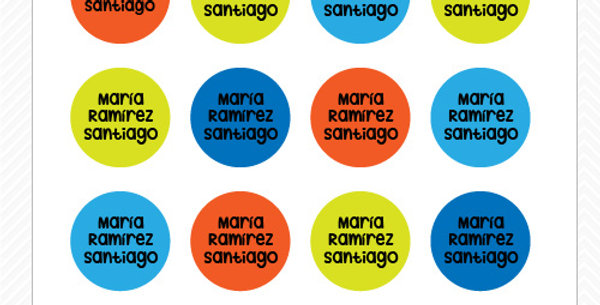 Etiquetas Lavables Plásticos > Circular 2.5 cms > 35 piezas