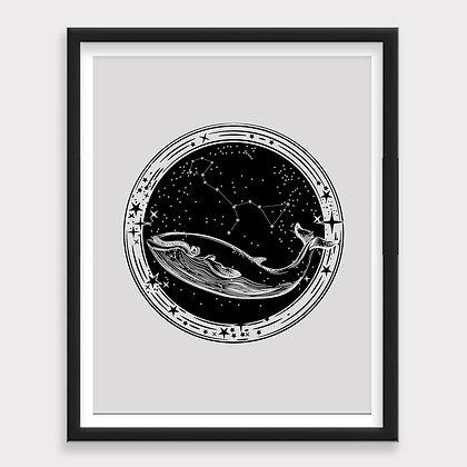 Ballena Universo Constelaciones Sketch Blanco y NegroArt Print