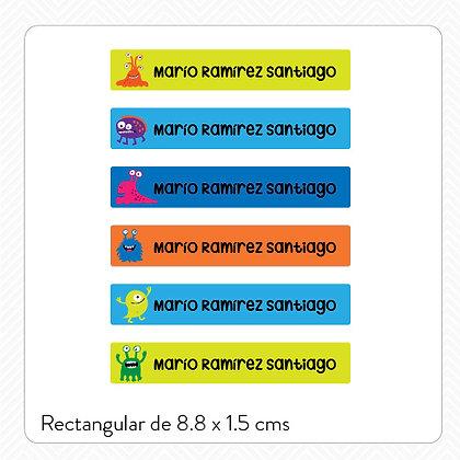 Etiquetas Lavables Plásticos > 8.8x1.5 cms > 40 piezas
