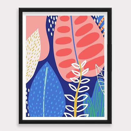 Abstracto Plantas Art Print
