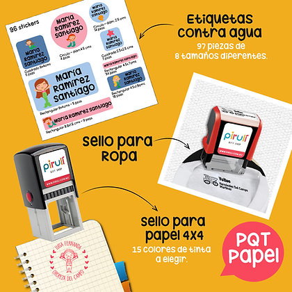 PQT PAPEL> Sello Ropa + Etiquetas Contra Agua + Sello Papel 4x4 cms