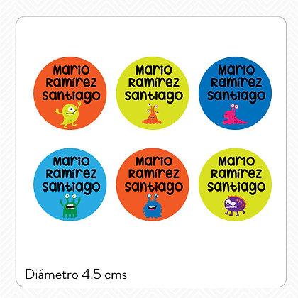 Etiquetas Lavables Plásticos > Circular 4.5 cms > 36 piezas