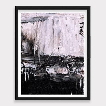 Pintura Oleo Abstracto Blanco y Negro Art Print