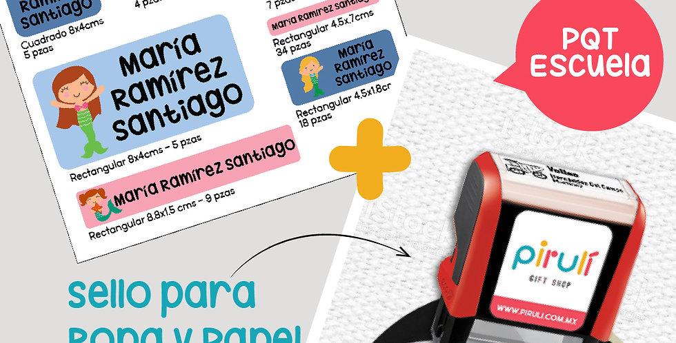 PQT  ESCUELA > Sello Ropa + Etiquetas Contra Agua + Etiquetas Ropa Oscura