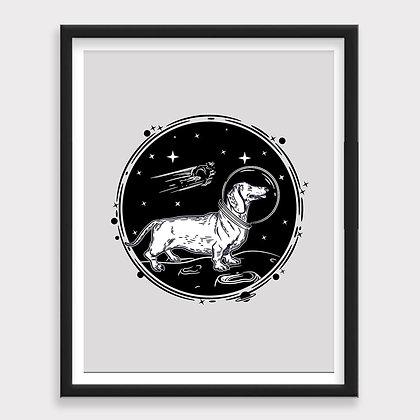 Perro Salchicha Espacio Art Print