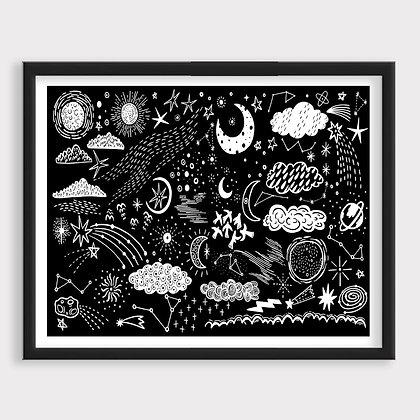 Universo Sketch Blanco y Negro Art Print