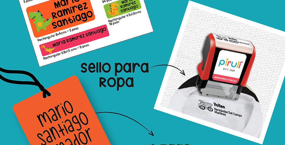 PQT TODO ESCUELA > Sello Ropa + Etiquetas Contra Agua + 1 Tag