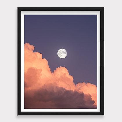 Luna llena Atardecer Morado Art Print