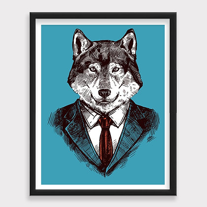 Lobo Wall Street Ilustración Art Print