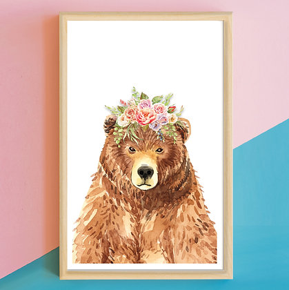 Prints> Oso Flores Acuarela