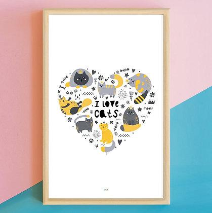 Prints> I Love Cats