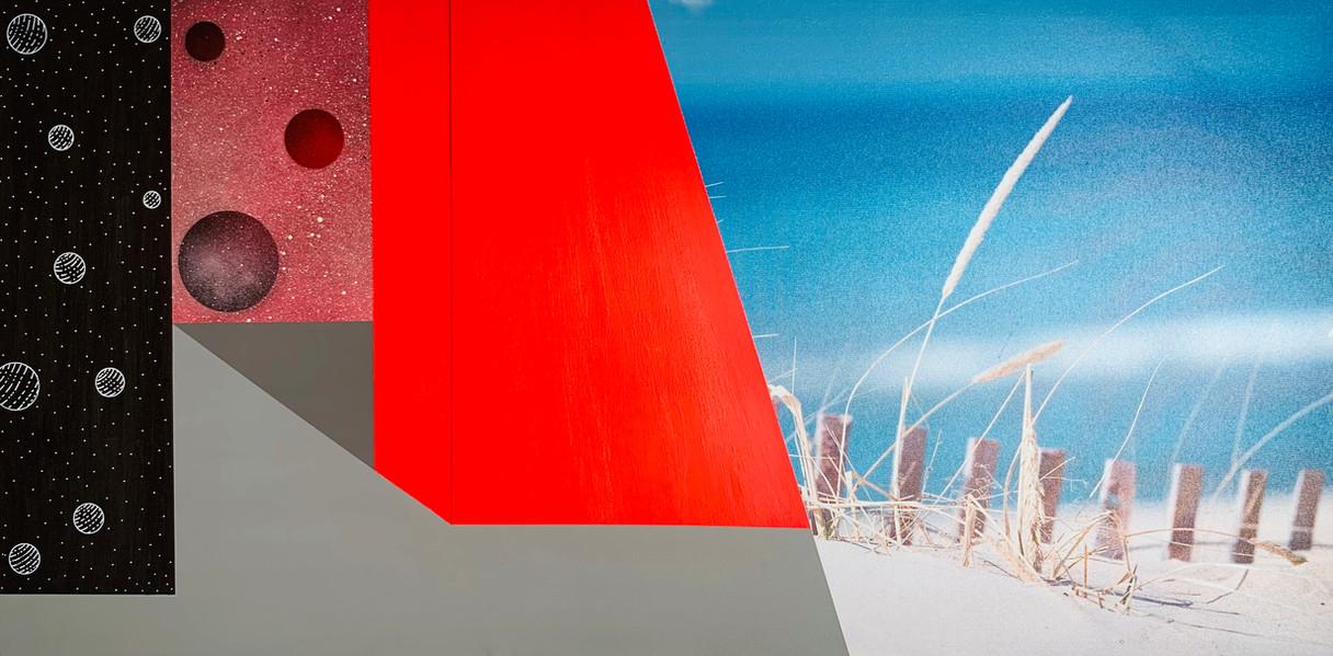 Ohne Titel   2021   Acryl und Sprayfarbe auf bestehende Fotoleinwand   100 x 50 cm