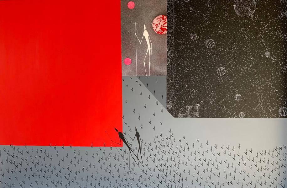 Falsche Geschichte   2020   Acryl und Sprayfarbe auf Leinwand   120 x 80 cm