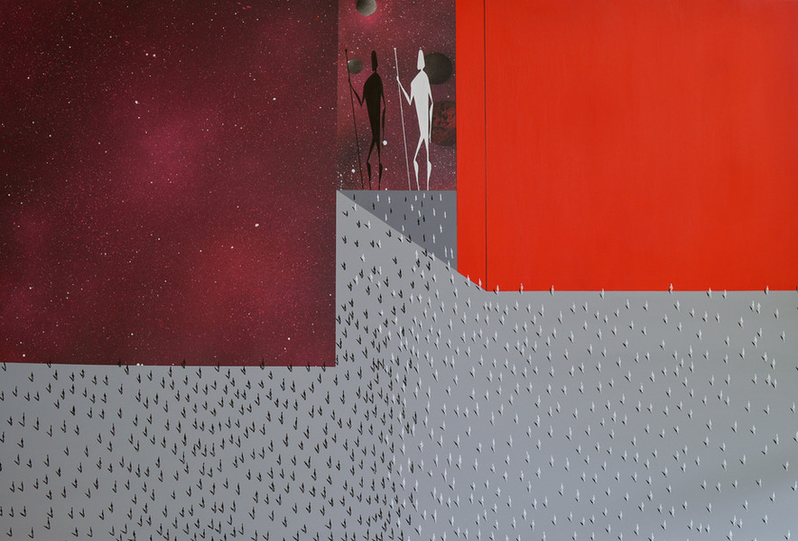 Falsche Geschichte 2.0   2020   Acryl und Sprayfarbe auf Leinwand   120 x 80 cm