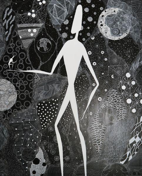 Genesis - Der Mann der einst vom Himmel fiel   2019   Acryl und Acrylstift auf Leinwand   140 x 110cm