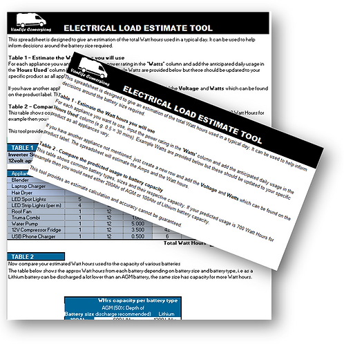 Electrical load estimate tool for sizing battery set up